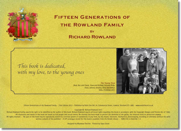 Fifteen Generations of the Rowland family
